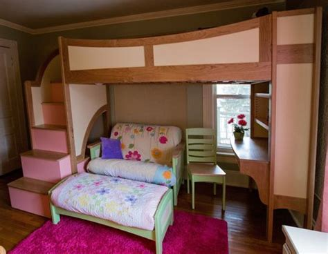 handmade girls twin loft bunk bed  stairs futon