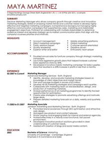 marketing manager cv exle for marketing livecareer