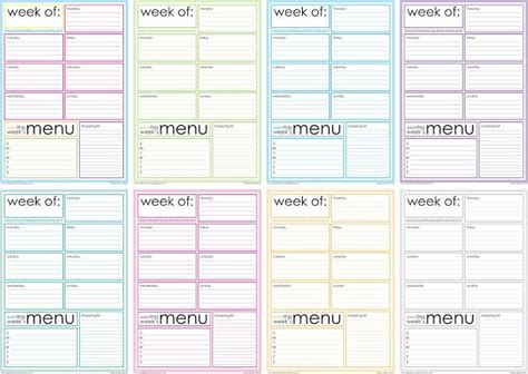 free printable weekly diet calendar free printable weekly menu planner printable calendar