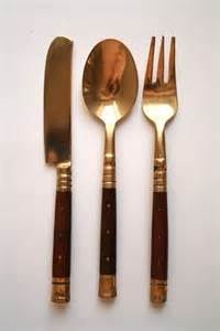 brass cutlery sale wood and brass canape cutlery set