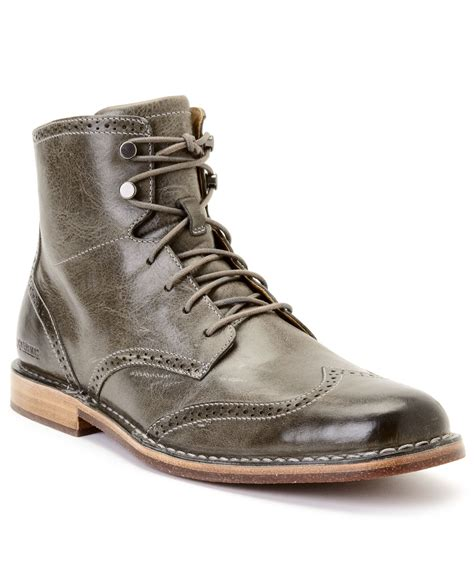 sebago boots sebago hamilton ii wing tip boots in gray for lyst