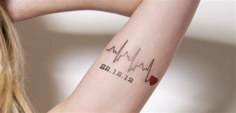 small date tattoos 8 heartbeat designs that are worth trying