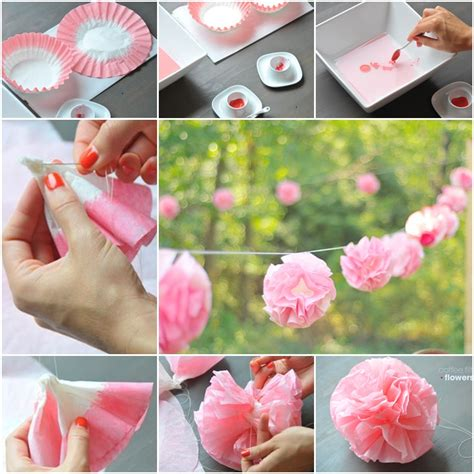 How To Make Paper Flowers Out Of Coffee Filters - diy flower garland out of coffee filter