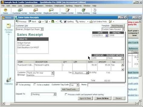 quickbooks easystart tutorial quickbooks training enter quickbooks sales receipts