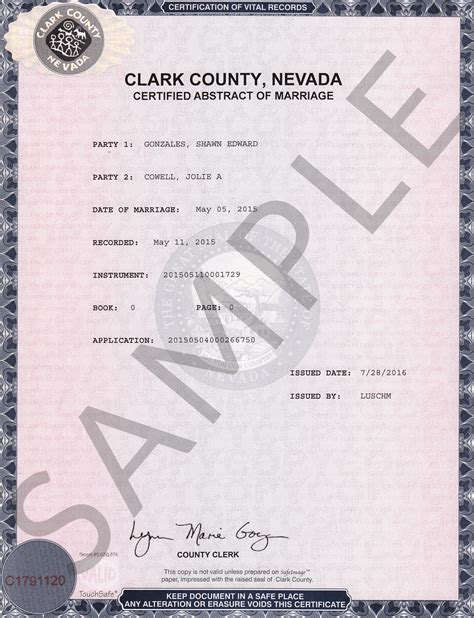 Clark County Marriage License Records Sle Certificates Nevada Document Retrieval Service