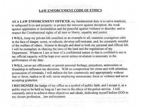 Officer Code by Enforcement Code Of Ethics Pictures To Pin On