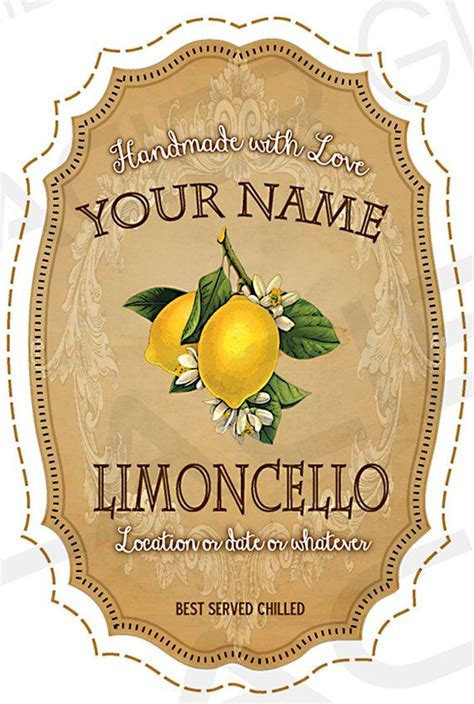 Printable Limoncello Tags | customized vintage limoncello labels digital diy wedding