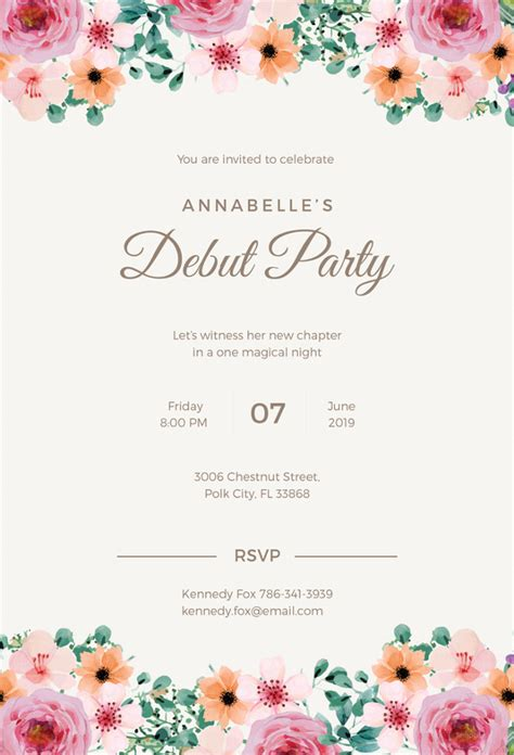 Illustrator Wedding Invitation Template by 27 Debut Invitation Templates Psd Ai Vector Eps