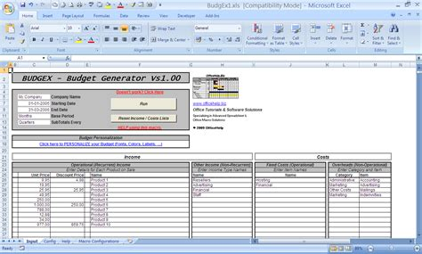 Excel Templates With Macros by Officehelp Macro 00048 Budgex Budget Generator For
