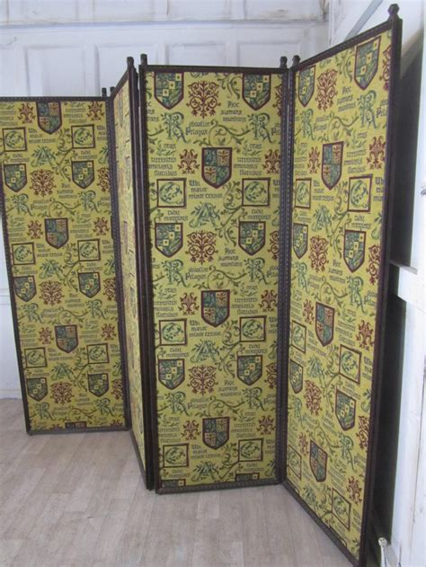 Upholstered Room Divider Upholstered 4 Fold Screen Oak Room Divider 270943 Sellingantiques Co Uk