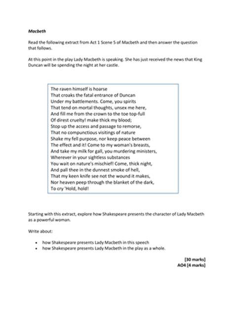 macbeth themes essay questions 5 macbeth gcse exam questions for paper 1 aqa new spec by