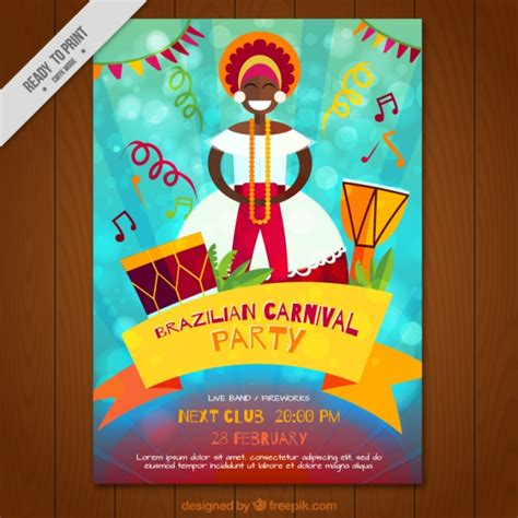 brazilian carnival party brochure vector free download