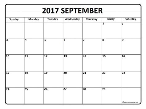 printable calendar of september 2017 september 2017 calendar printable template