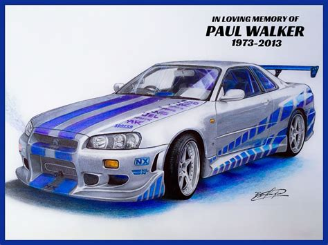nissan skyline drawing by nissan skyline gt r 34 2 fast 2 furious drawing supercar