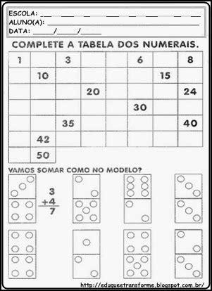 Eduque e transforme: 1º ANO atividades de Matemática
