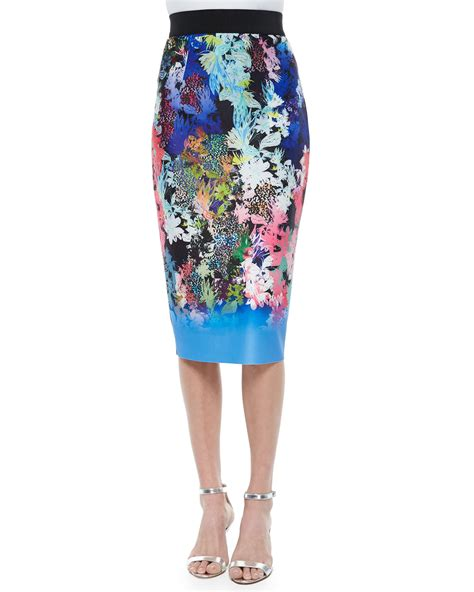 printed midi pencil skirt milly ombre floral print midi pencil skirt in blue lyst