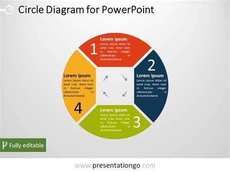free 4 part circle powerpoint diagram powerpoint