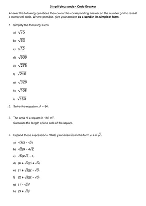 simplifying surds by mariomonte40 teaching resources tes