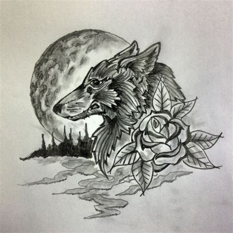 wolf moon flower tattoo sketch by ranz art pinterest