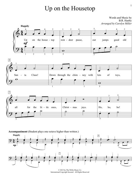 printable lyrics up on the housetop up on the housetop sheet music by carolyn miller easy