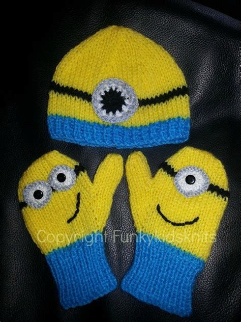 knitting pattern minion despicable me knitted minion hat and mitten set www facebook com