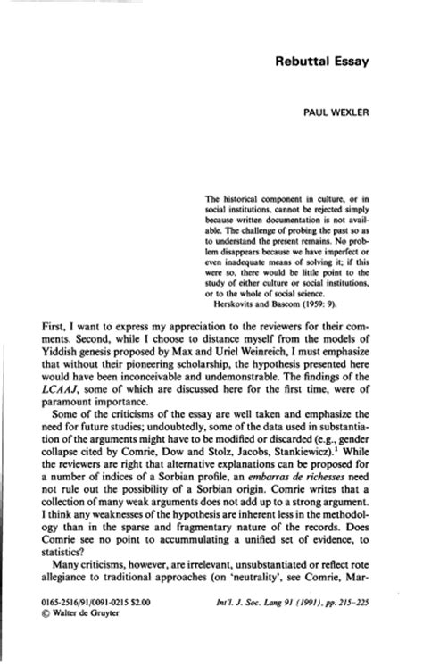 Rebuttal Essay Exle by Rebuttal Essay International Journal Of The Sociology Of Language