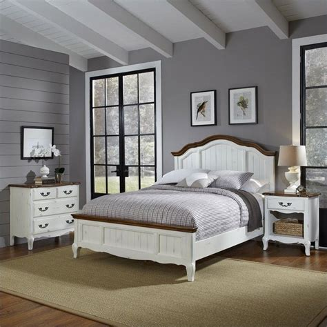 Bedroom Furniture With Mattress Included 3 Bedroom Set In Oak And Rubbed White 5518 X019
