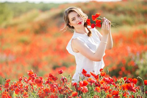 most beautiful flower bouquets hot girls wallpaper beautiful girl in a white dress with a bouquet of poppies