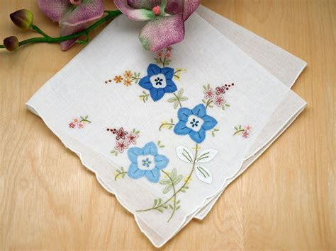 embroidery design for handkerchief set of 3 blue floral applique embroidered handkerchiefs