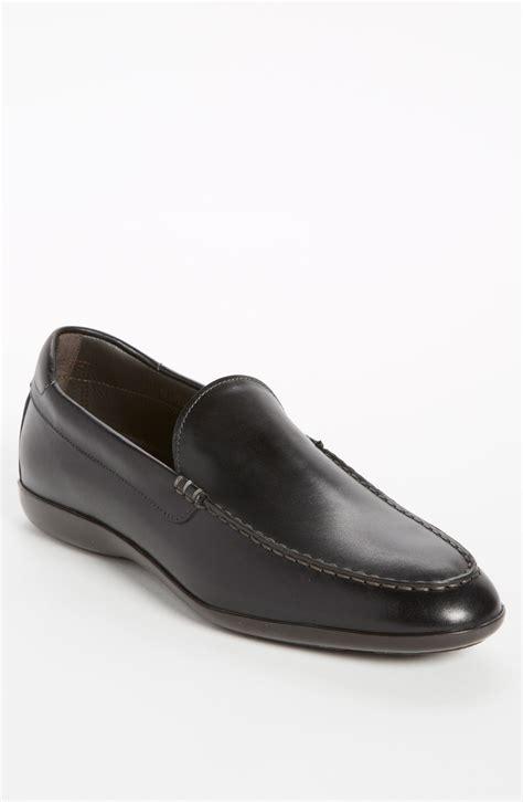 santoni loafer santoni tatum loafer in black for lyst