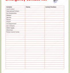 Emergency Contacts Template by Emergency Contact List Template