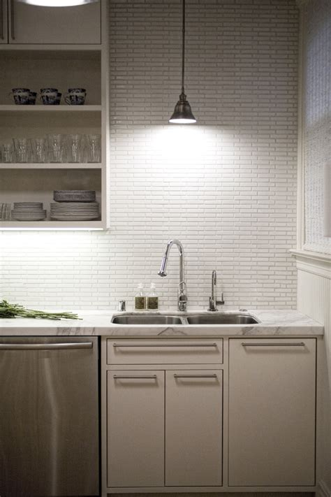 groutless tile backsplash kitchen contemporary with white