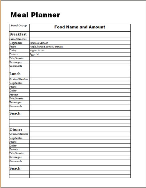 meal planner log template word excel templates