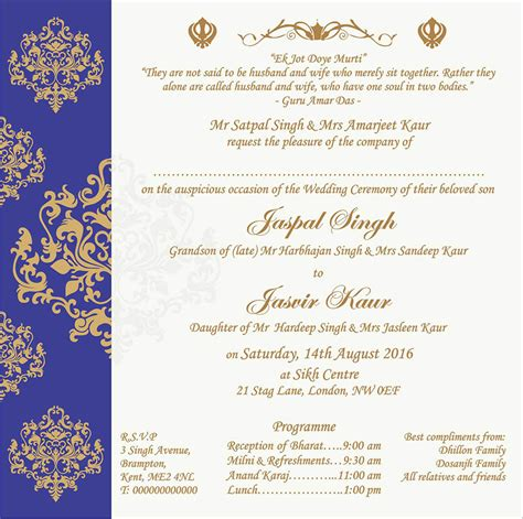 Sikh Wedding Invitation Cards by Wedding Invitation Wording For Sikh Wedding Ceremony