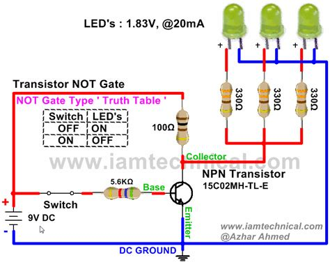 pnp transistor and gate not gate using npn transistor iamtechnical