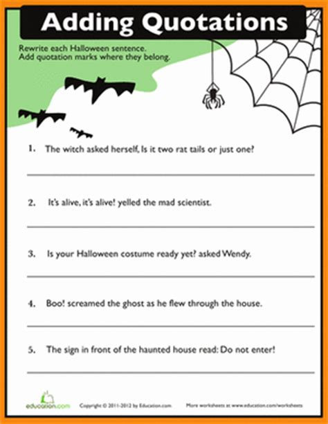 printable halloween math worksheets for 4th grade quotation punctuation worksheet education com