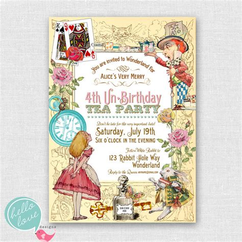 alice in wonderland printable birthday by hellolovedesigns
