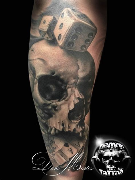 cards and dice tattoo designs spectacular designed and painted big detailed skull with