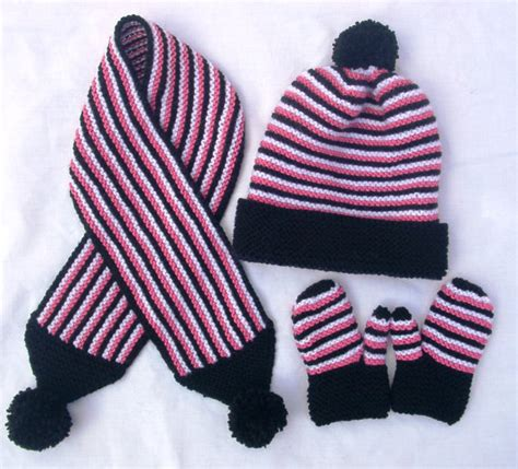 baby toddler hat scarf and mittens set knitted by