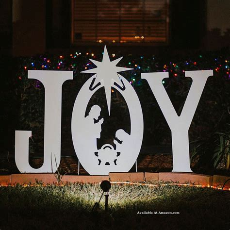 wooden joy christmas yard sign lighted outdoor decorations and ideas