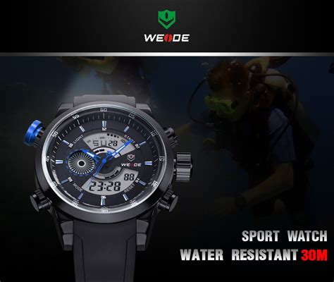 Jam Tangan Sports 30m Water Resistance Wh3301 weide japan quartz silicone sports 30m water resistance wh3401 white silver