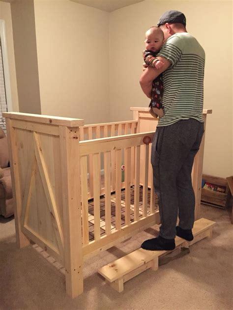 home made pine wood crib before stain diy crib