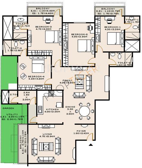 sobha jasmine floor plan 3038 sq ft 4 bhk 5t apartment for sale in sobha limited