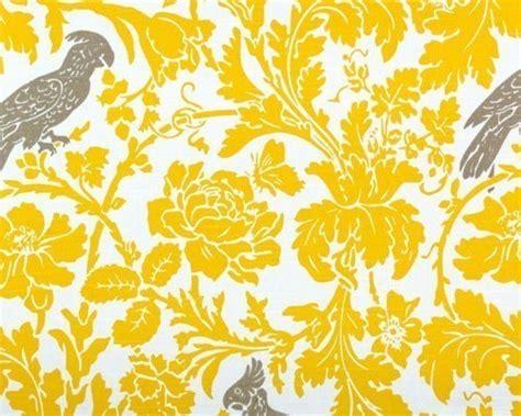 grey wallpaper yellow birds premier prints fabric home decor yellow grey bird