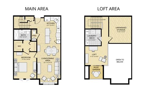 2 bedroom loft apartment floor plans