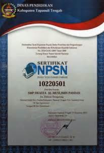 sertifikat npsn smp swasta al muslimin pandan