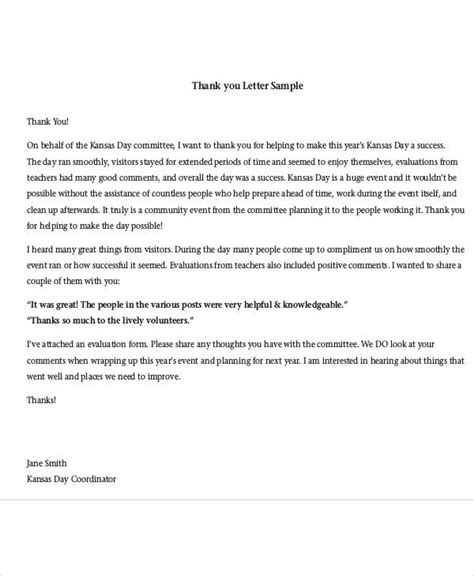 sample volunteer thank you letter 9 download free documents in