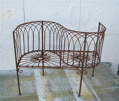 courting bench wrought iron small woven child s courting bench