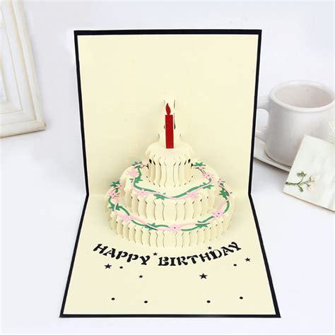 Pop Up Handmade Cards - 3d pop up cake greeting card handmade happy birthday