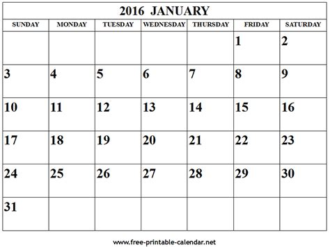 printable monthly calendar january 2016 january 2016 calendar